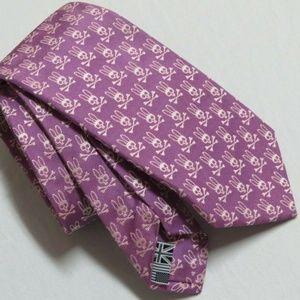 Purple/Pink Psycho Bunny MENS 100% Silk Neck Tie